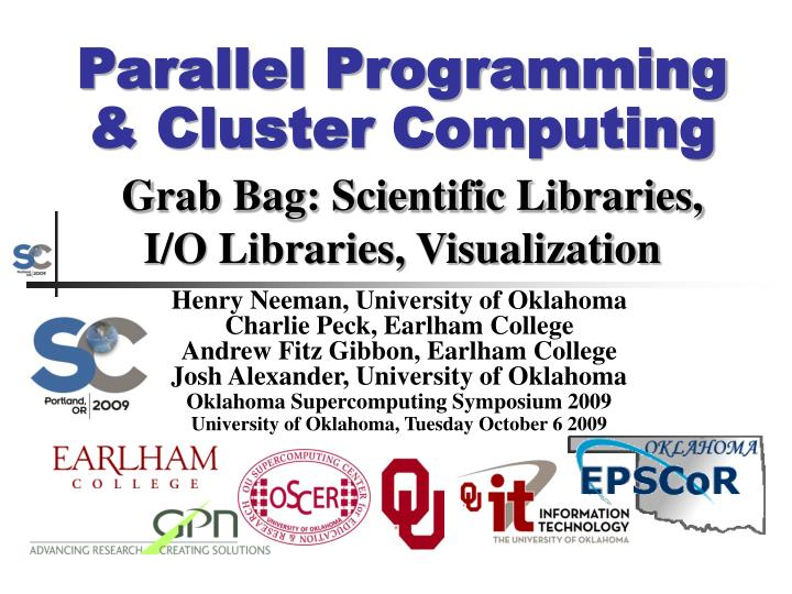 Parallel programming cluster computing grab bag scientific libraries i o libraries visualization