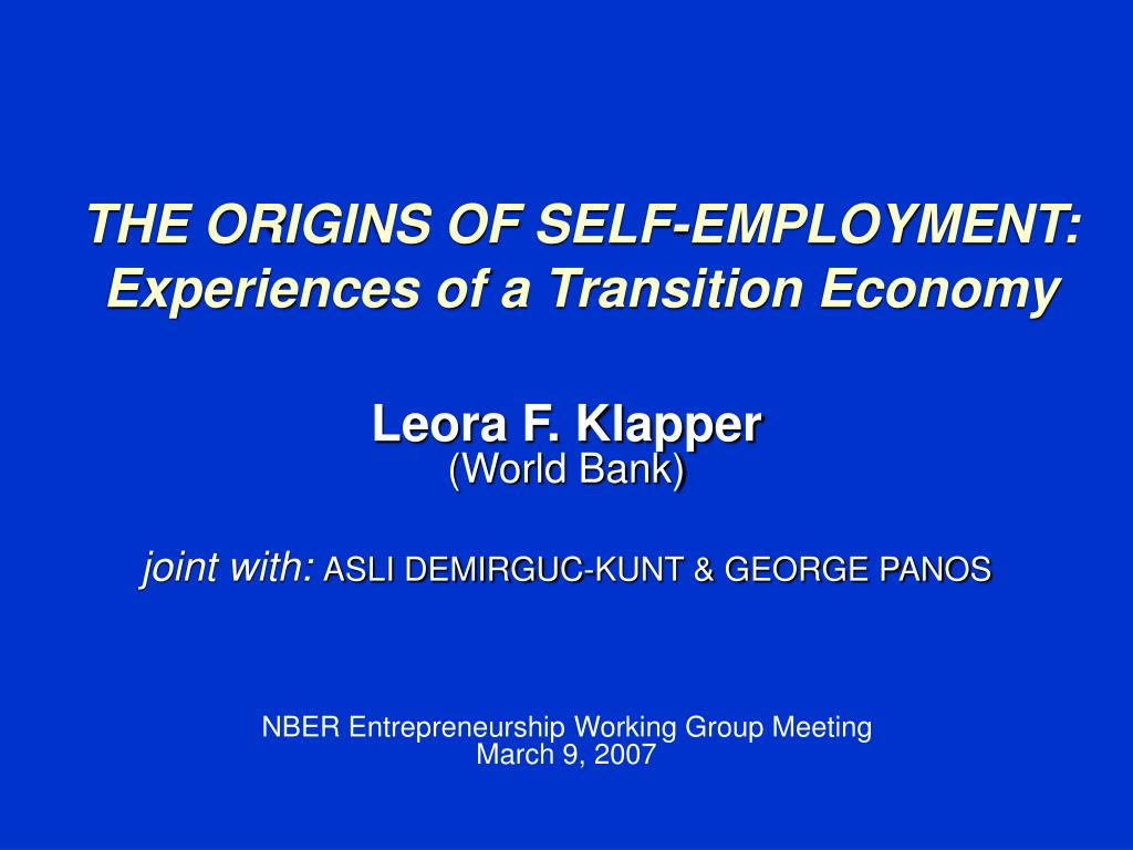 the origins of self employment experiences of a transition economy l.