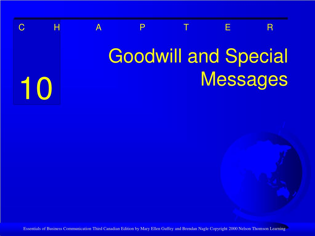 goodwill and special messages l.