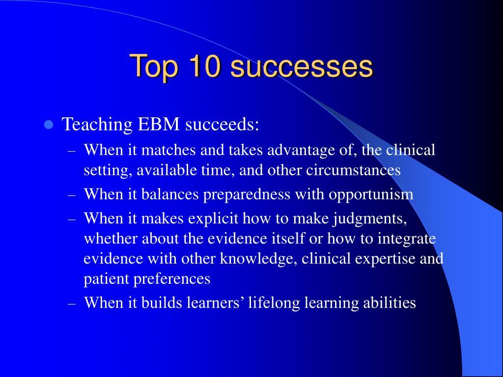Top 10 successes