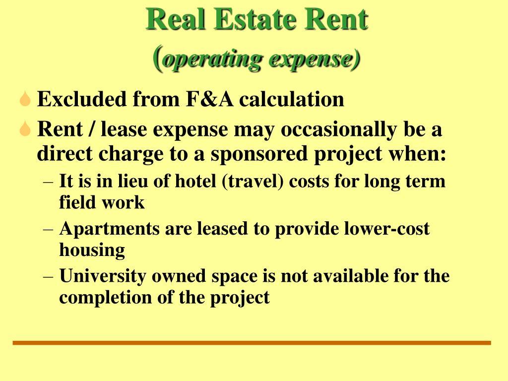 Real Estate Rent