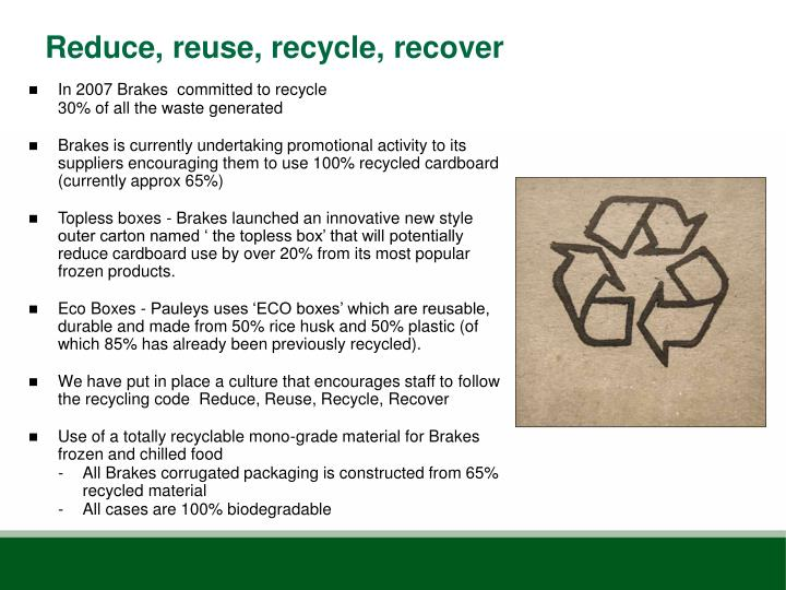 reduce reuse recycle recover Reduce, reuse, recycle (r3) is an environmental methodology and strategy for waste minimization r3 is a hierarchical waste framework that is used to generate maximum product benefit with minimal waste.
