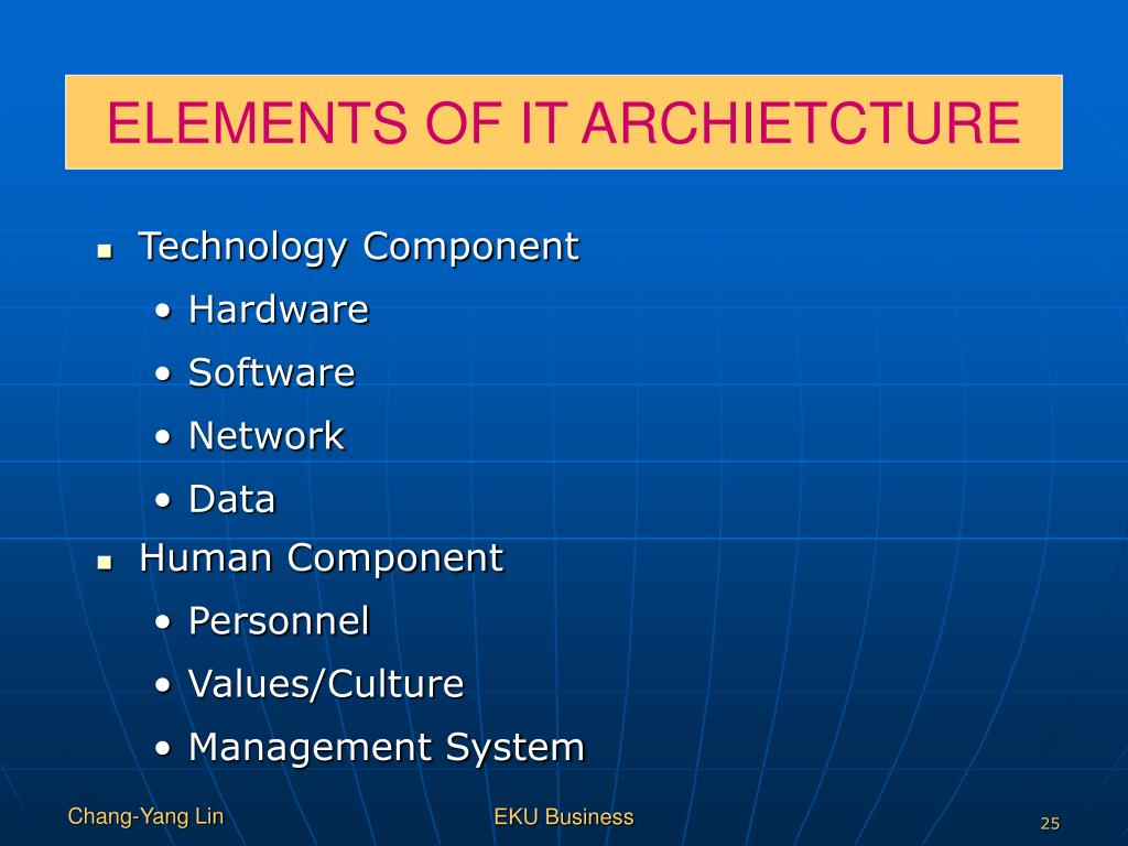 ELEMENTS OF IT ARCHIETCTURE