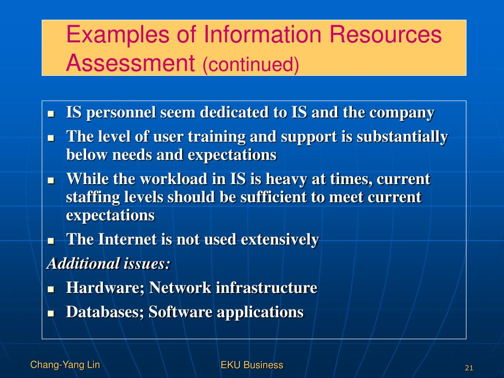 Examples of Information Resources Assessment