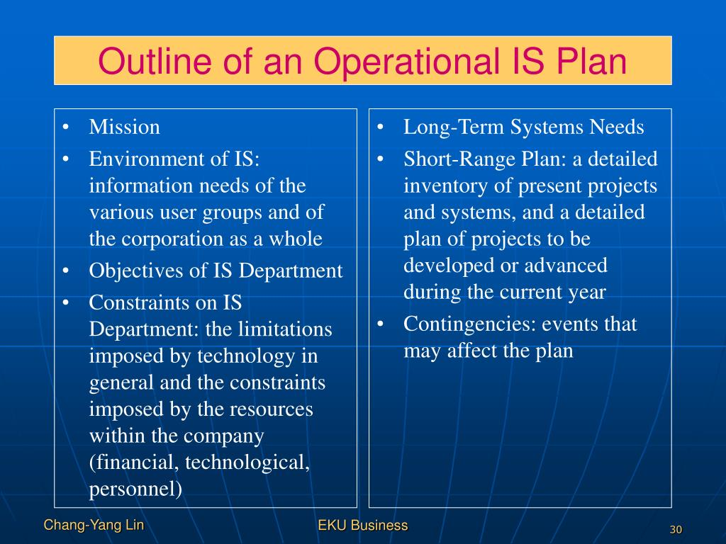 Outline of an Operational IS Plan