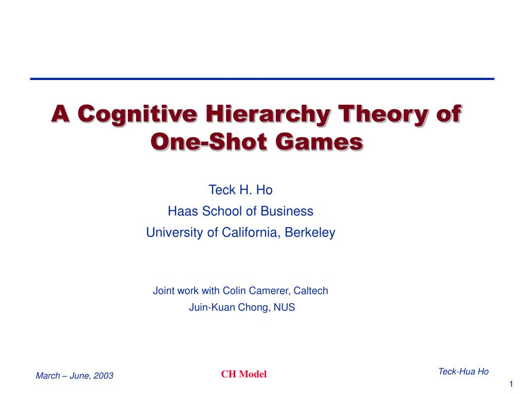 a cognitive hierarchy theory of one shot games l.