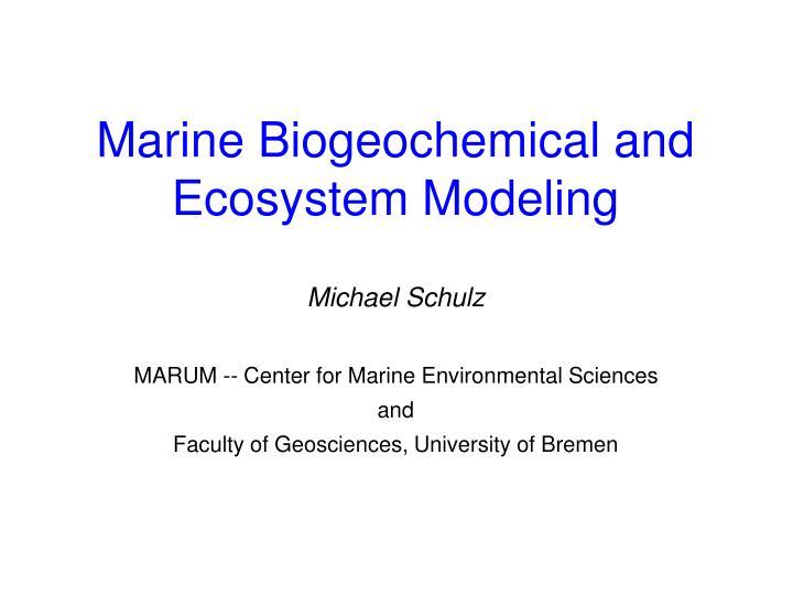 marine biogeochemical and ecosystem modeling n.