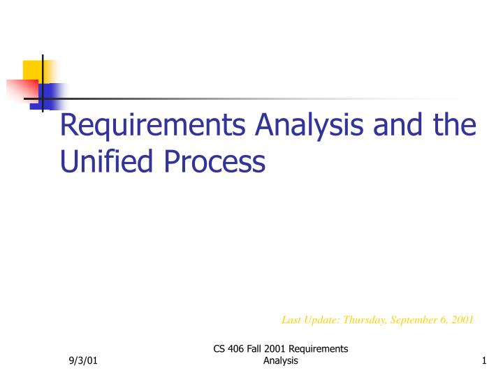 requirements analysis and the unified process n.