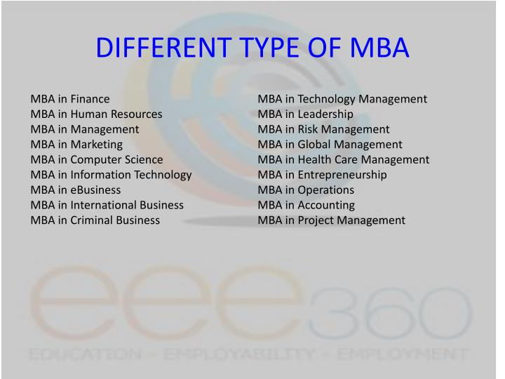 Different type of mba