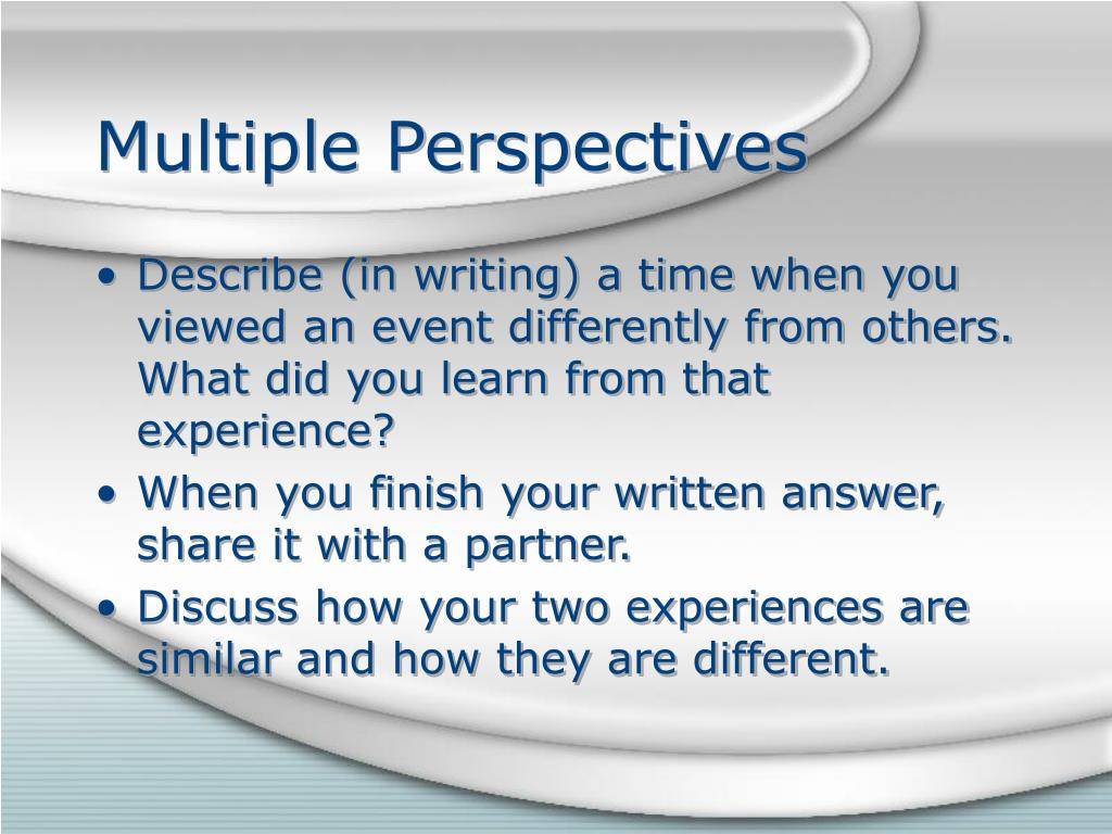 multiple perspectives vs single perspective approach essay How to write points of view in fiction multiple perspectives third-person limited narration from a single perspective.