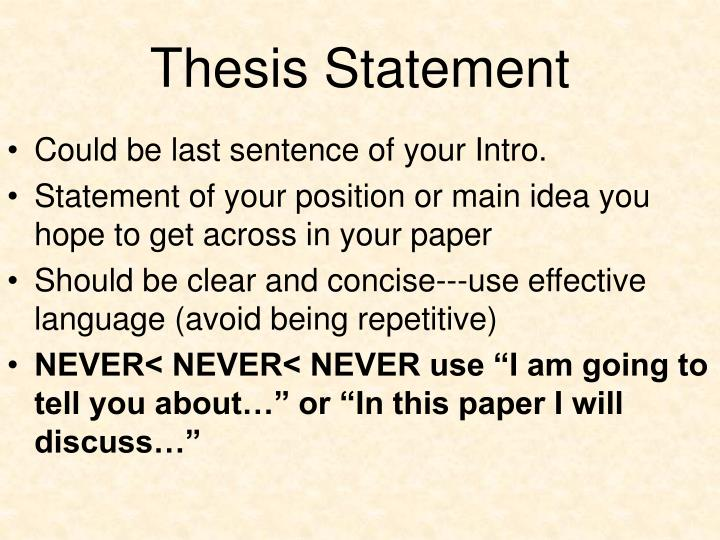what a thesis statement consists of Developing a thesis  think of yourself a good, standard place for your thesis statement is at the end of an introductory paragraph, especially in shorter.