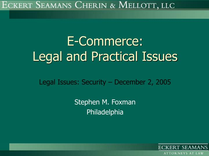 e commerce legal and practical issues n.
