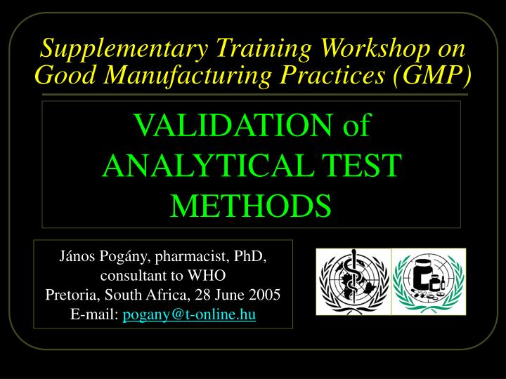 supplementary t raining workshop on good manufacturing practices gmp n.