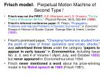 frisch model perpetual motion machine of second type