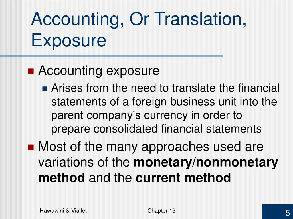 Accounting, Or Translation, Exposure