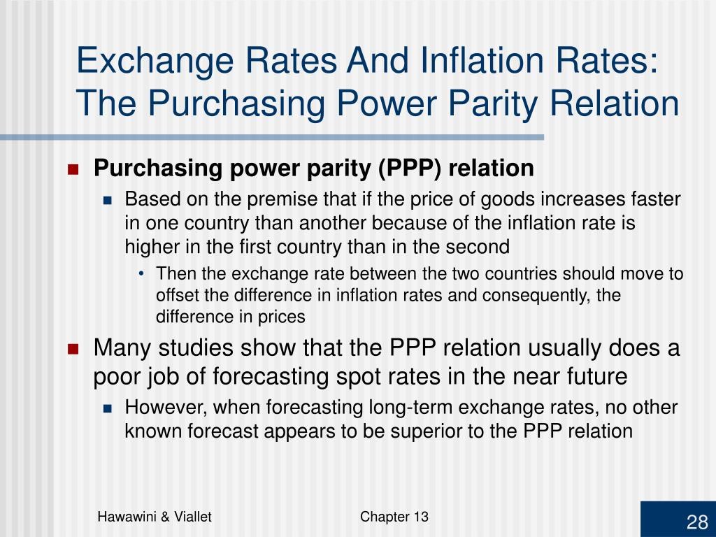 Exchange Rates And Inflation Rates:  The Purchasing Power Parity Relation