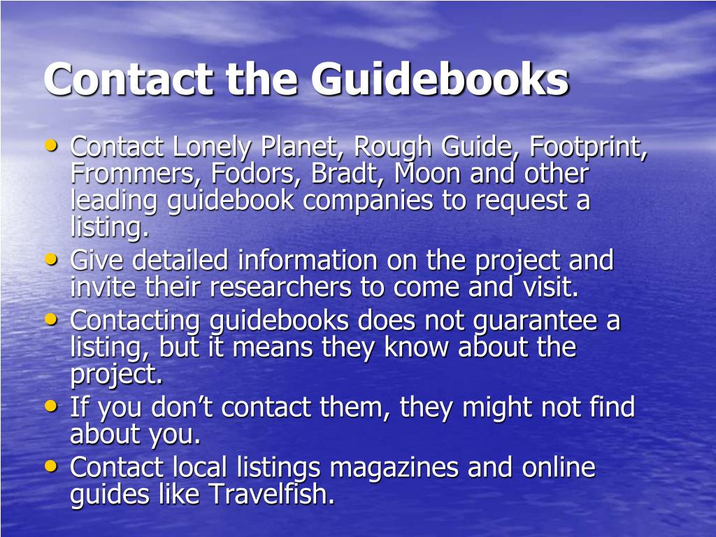 Contact the Guidebooks