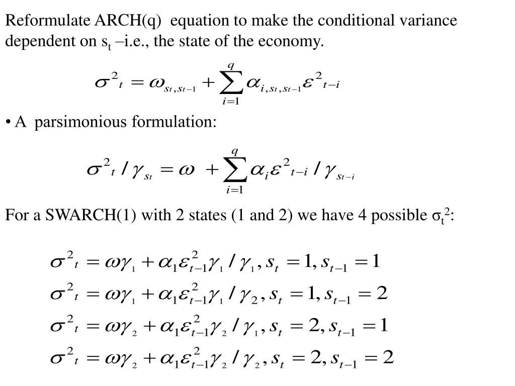 Reformulate ARCH(q)  equation to make the conditional variance dependent on s