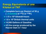 energy equivalents of one kiloton of tnt