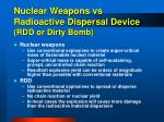 nuclear weapons vs radioactive dispersal device rdd or dirty bomb