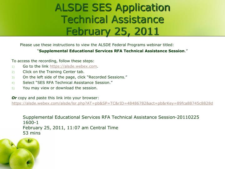 alsde ses application technical assistance february 25 2011 n.