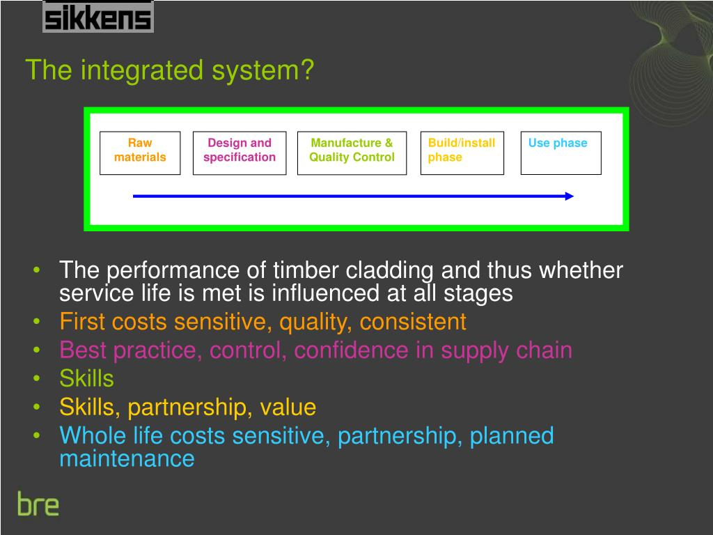 The performance of timber cladding and thus whether service life is met is influenced at all stages