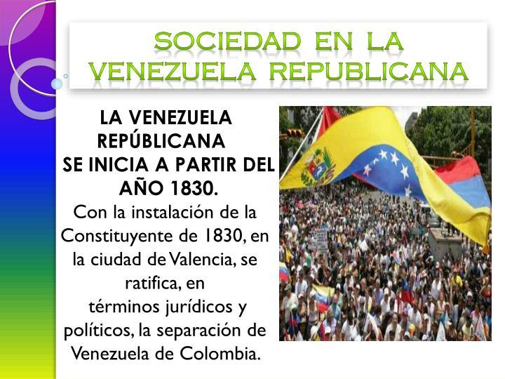 Sociedad  en  la Venezuela  republicana