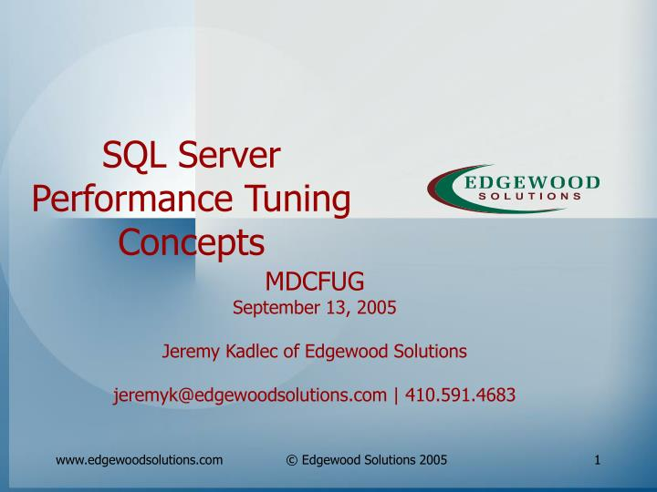 sql server performance tuning concepts n.