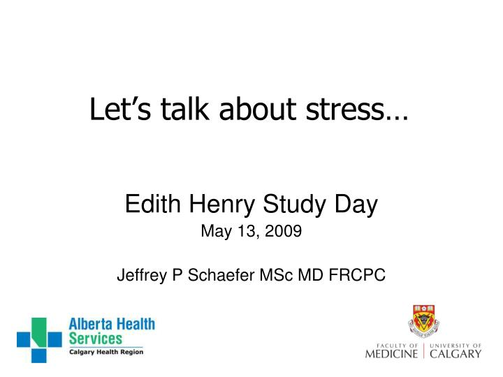 let s talk about stress n.