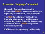 a common language is needed