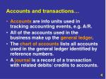 accounts and transactions