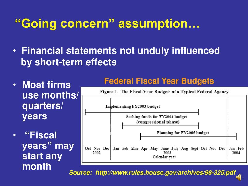 """""""Going concern"""" assumption…"""