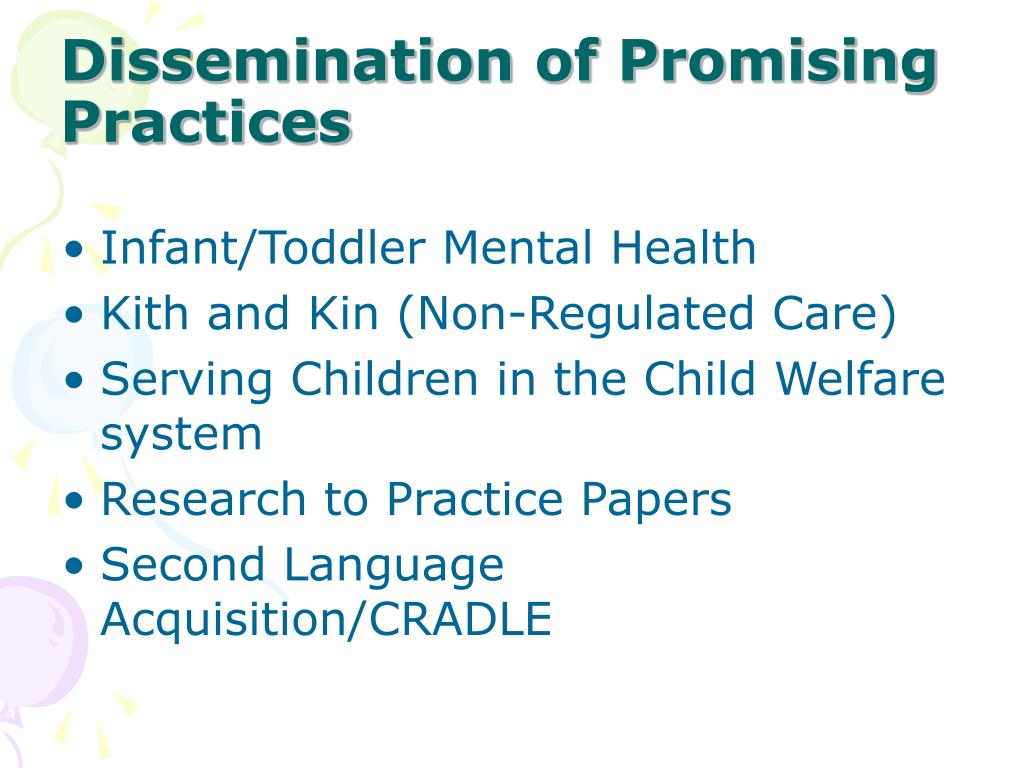Dissemination of Promising Practices