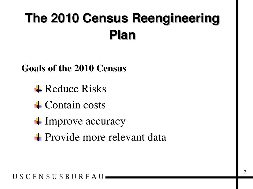 The 2010 Census Reengineering Plan