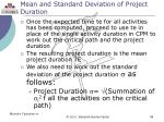 mean and standard deviation of project duration