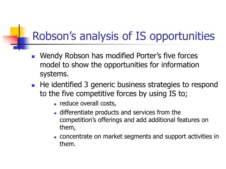 4 using the robson s analysis of the five forces and is opportunities can you identify any other iss Following the assessment phase, most culture change programs seek to facilitate some type of analysis and planning process to crystalize the organization's safety-related values and vision, and to identify action priorities and implementation strategies for improving safety performance within the organization.