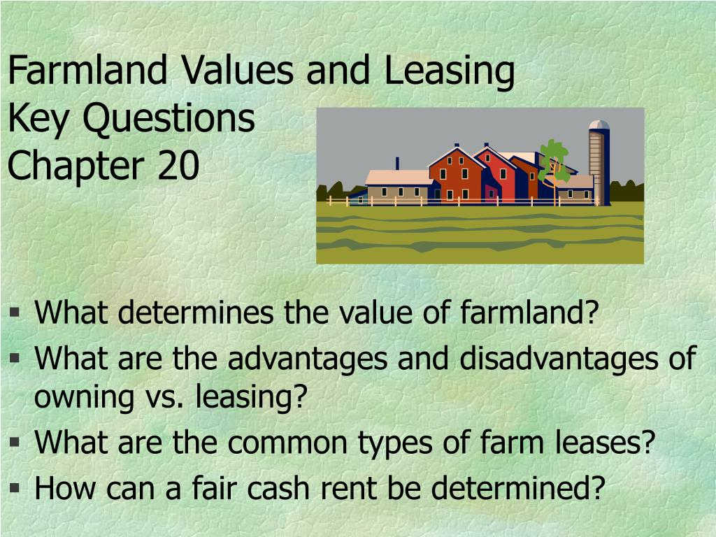 farmland values and leasing key questions chapter 20 l.