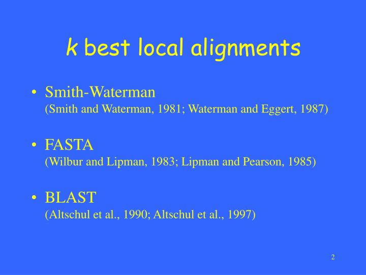 K best local alignments
