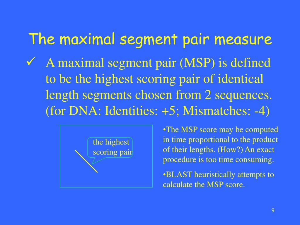 The maximal segment pair measure