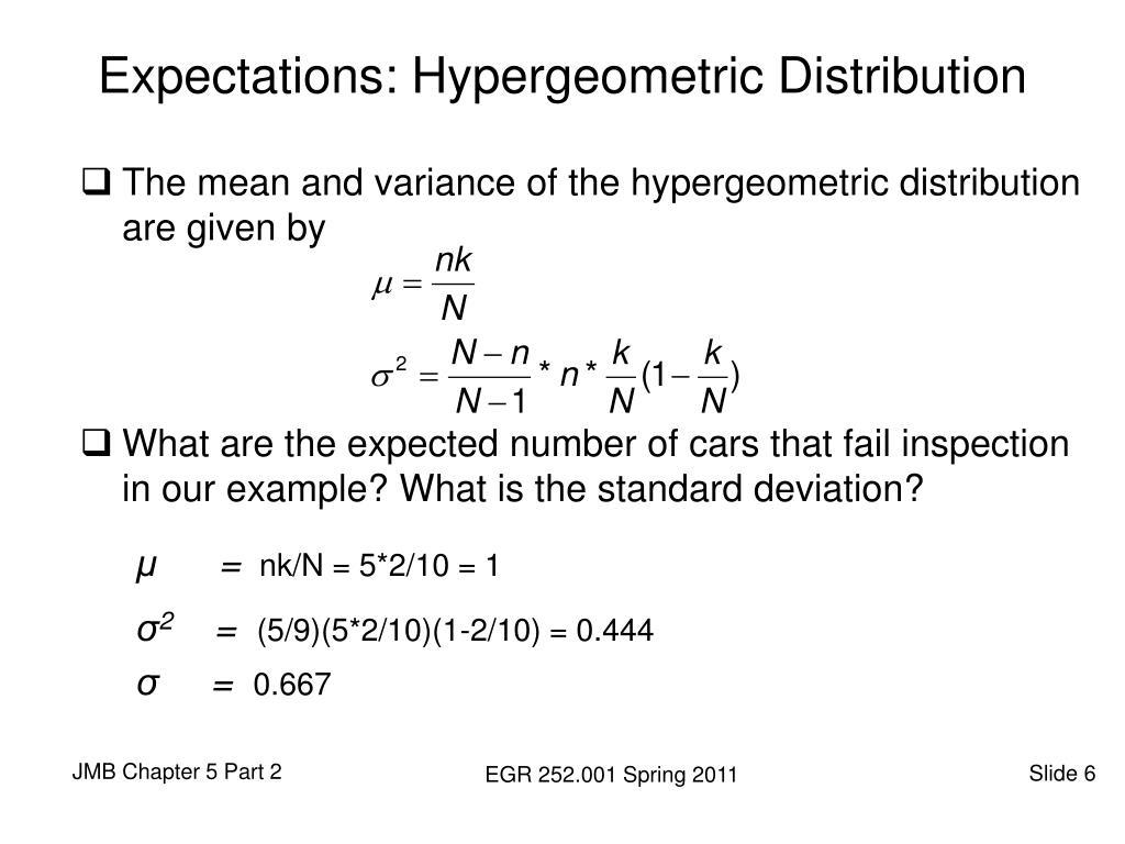 Expectations: Hypergeometric Distribution