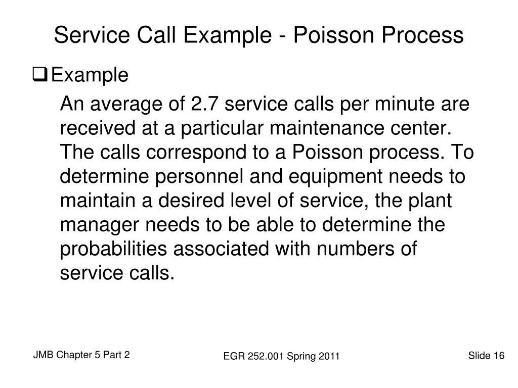 Service Call Example - Poisson Process