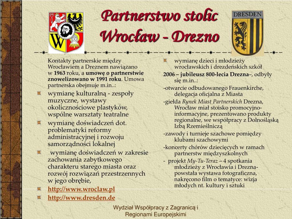 Kontakty partnerskie między Wrocławiem a Dreznem nawiązano