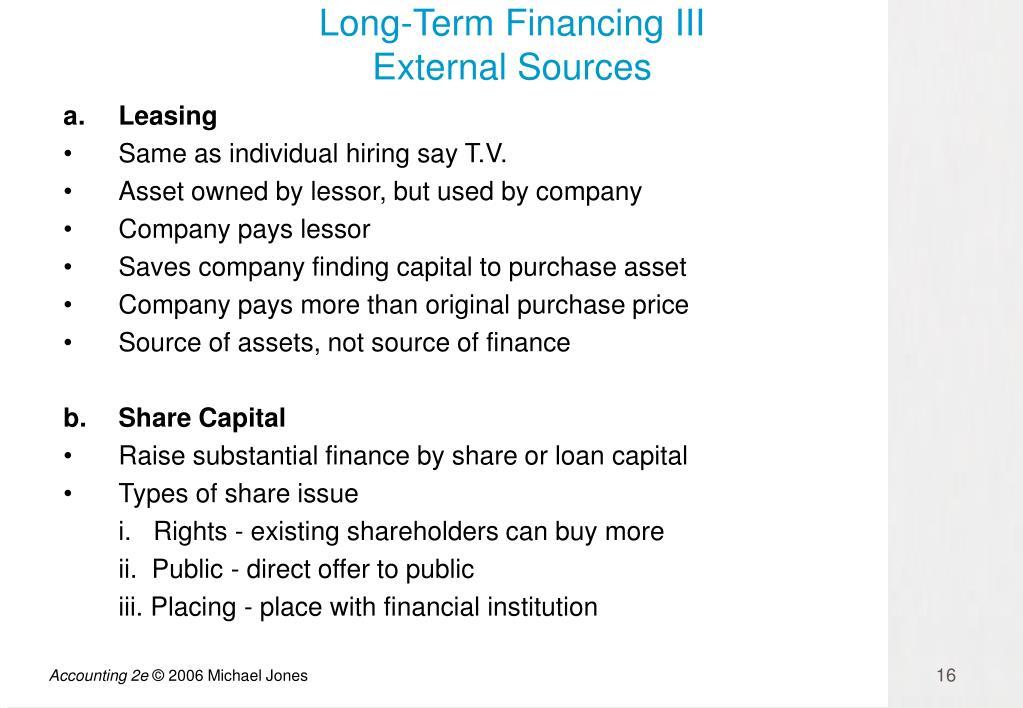 Long-Term Financing III