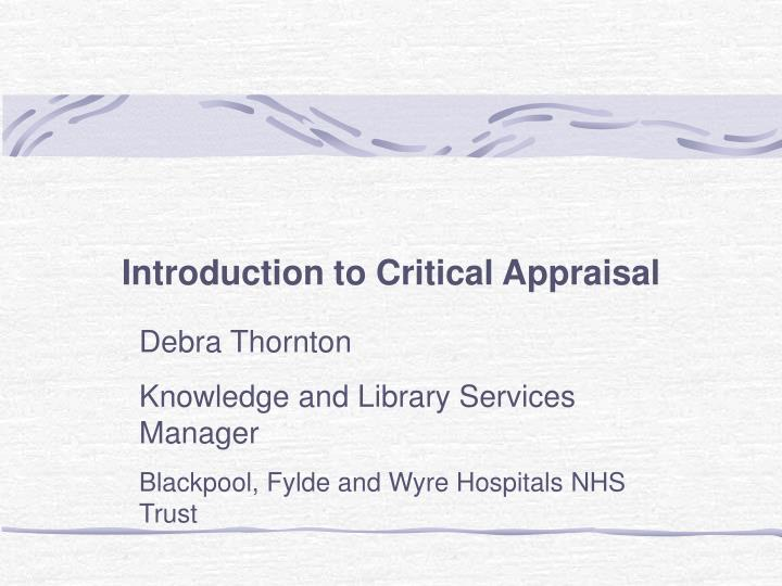 introduction to critical appraisal n.