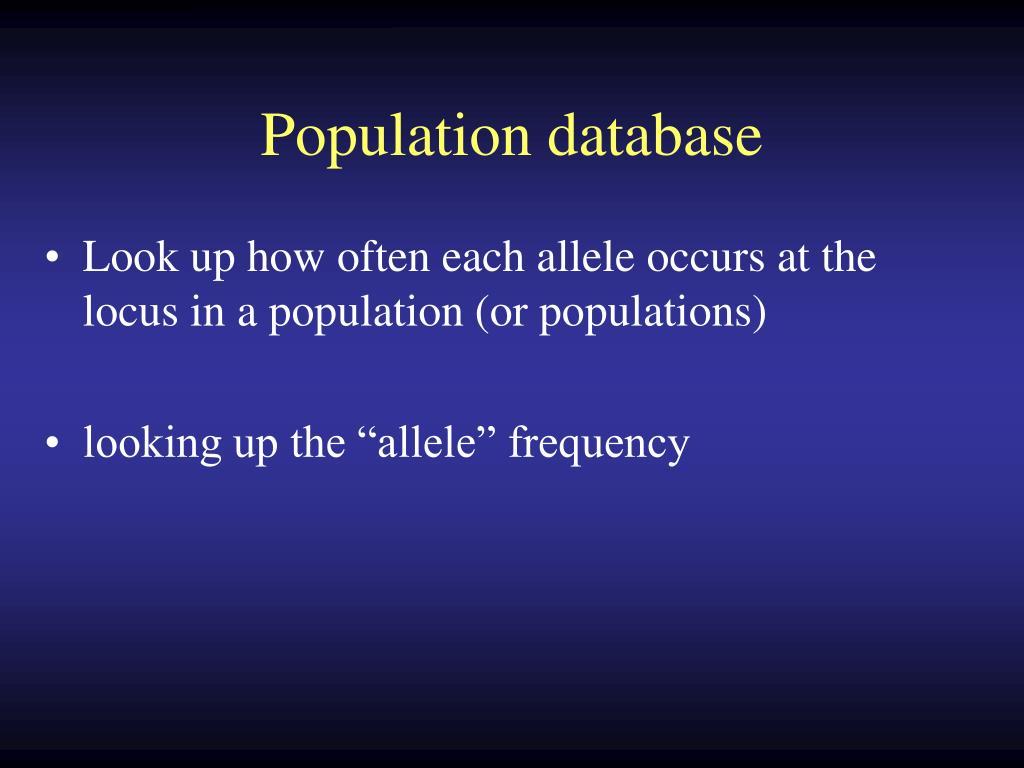Population database