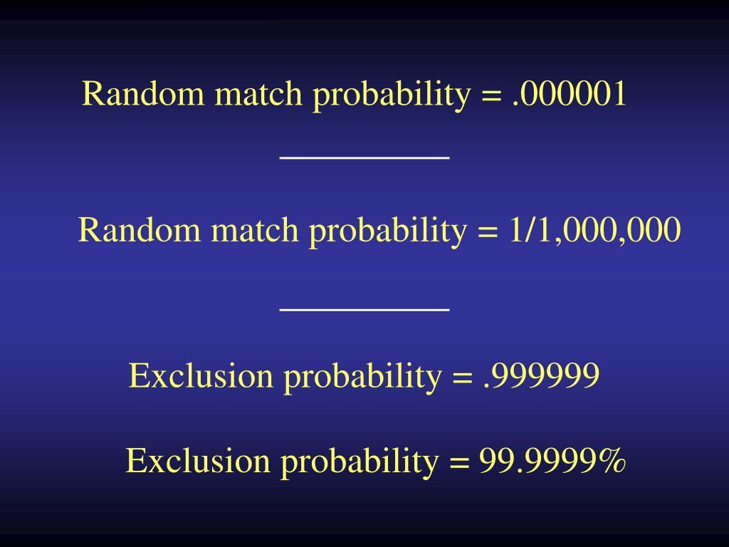 Random match probability = .000001