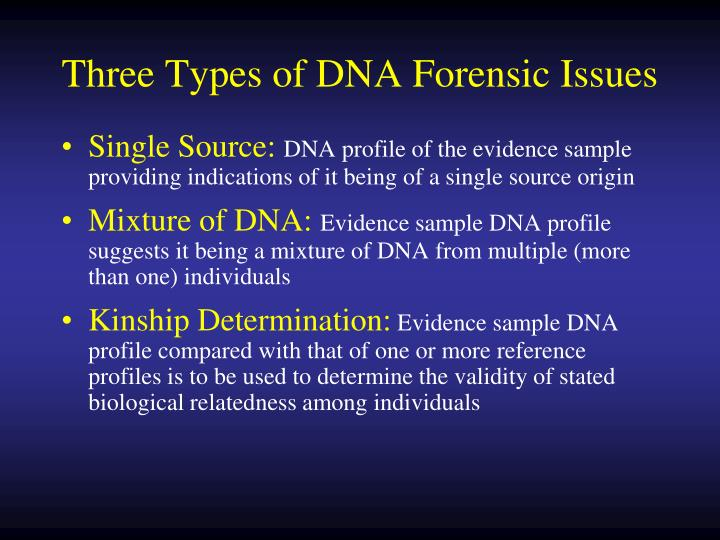 Three types of dna forensic issues