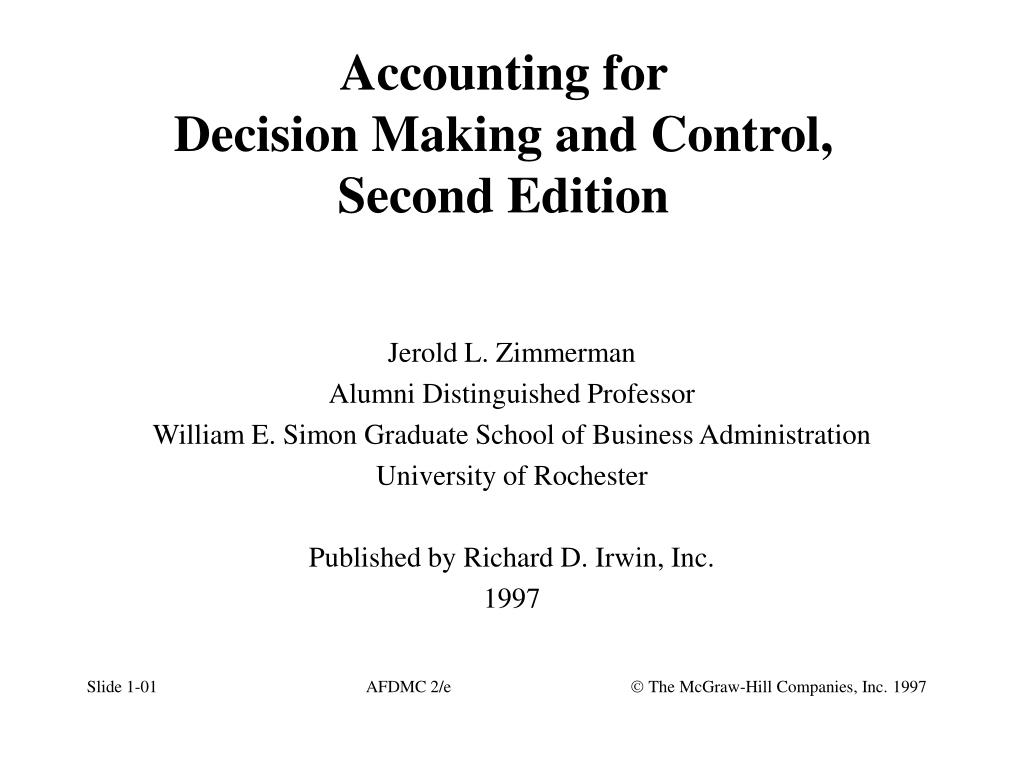 accounting for decision making and control second edition l.