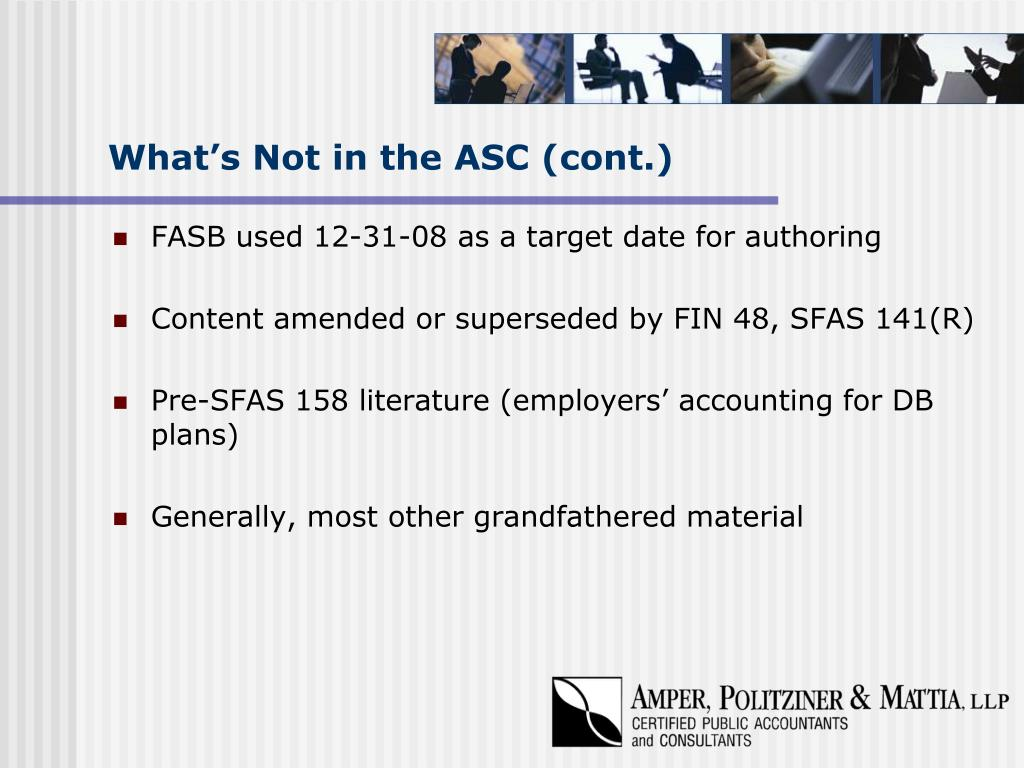 What's Not in the ASC (cont.)