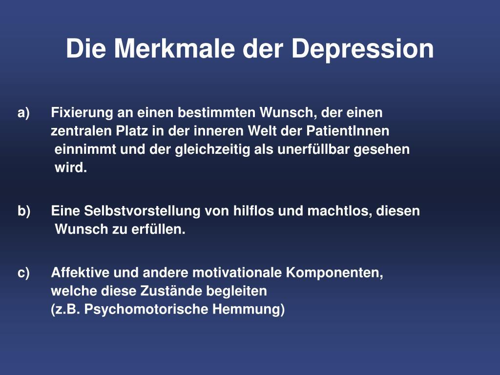 Die Merkmale der Depression